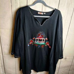 Quacker factory tunic sweatshirt with fireworks